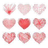 Vector set of scribbled hand drawn hearts for Valentines Day — Stock Vector
