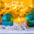 Christmas still life with Christmas balls and candle — Stock Photo #59030861