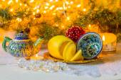 Christmas still life in oriental style with the national dishes of Tajikistan — Stock Photo