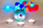 Christmas composition with candles and Christmas decorations — Stock Photo