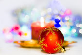 Christmas composition with candles and Christmas decorations — Foto Stock