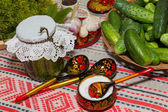 Pickling cucumbers, pickling - cucumbers, herbs, spices, salt, h — Stock Photo