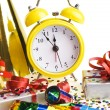 Alarm clock with Christmas presents — Stock Photo #53646773