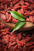 Dried goji berries with green leaves — Stock Photo