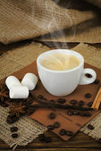 Coffee with spices and marshmallow — Stock Photo