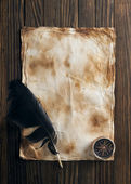 Compass and quill  on old paper — Foto de Stock