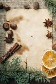 Christmas background with spices — Stock Photo