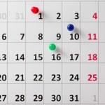 Pushpin in calendar — Stock Photo #52444609