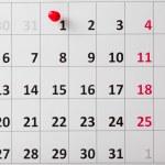 Pushpin in calendar — Stock Photo #52444667