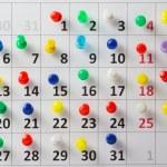 Pushpin in calendar — Stock Photo #52444701