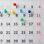 Pushpin in calendar — Stock Photo #52444781
