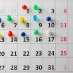 Pushpin in calendar — Stock Photo #52445579
