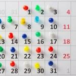 Pushpin in calendar — Stock Photo #52445703