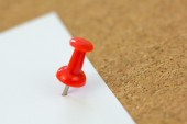 Push pin On sticky paper — Stock Photo