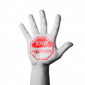 Open hand raised, Stop Hackers sign painted — Stock Photo