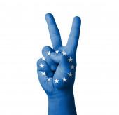Tradiční ruční výroby V znak, vlajka Eu (Evropská unie), malované — Stock fotografie