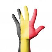 Open hand raised, Belgium flag painted — Stock Photo