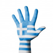 Open hand raised, Greece flag painted — Stock Photo