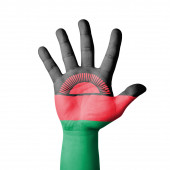 Open hand raised, Malawi flag painted — Stock Photo