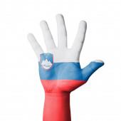 Open hand raised, Slovenia flag painted — Стоковое фото