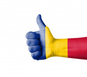 Hand with thumb up, Romania  flag painted — Stock Photo