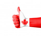 Hand with thumb up, Canada  flag painted — Stok fotoğraf