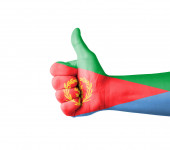Hand with thumb up, Eritrea  flag painted — Stock Photo