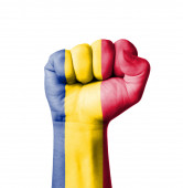 Fist of Romania flag painted — Stock Photo