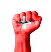 Fist of Switzerland flag painted — Stock Photo