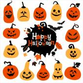 Halloween icon set of pumpkins. — Stock Vector