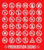 Prohibition set symbols — Stock Vector
