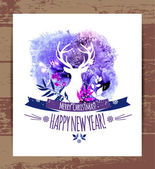 Christmas and happy new illustration with deer — Stock Vector