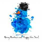Merry christmas abstract card of blots. — Stock Vector