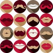 Moustaches and lips set. — Stock Vector