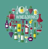 Wine flat background — Stock Vector