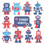 Funny robots set — Stock Vector #71594567