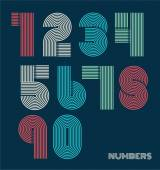Retro stripes funky numbers set — Stock Vector