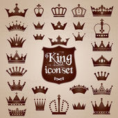 Crowns icons set — Stock Vector