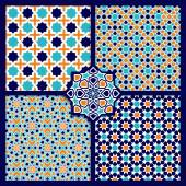 Seamless Islamic color patterns set — Stock Vector
