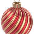 Christmas ball New Years Eve bauble decoration red gold — Stock Photo #59752501