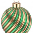 Christmas ball bauble New Years Eve  green gold decoration — Stock Photo #60110271