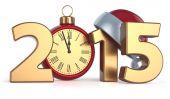 Happy New Year 2015 alarm clock Christmas ball — Stok fotoğraf