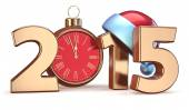 2015 New Years Eve alarm clock Christmas ball decoration — Photo