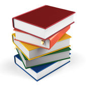 Book stack of textbooks hard covers colorful  books blank — Stock Photo