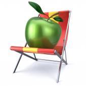 Appelgroen zitten in strand stoel schoonheid gezond eten ontspannen — Stockfoto