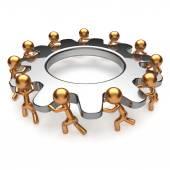 Partnership teamwork process business man turning gear — Стоковое фото