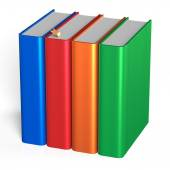 Four books educational studying textbooks bookshelf faq — Stock Photo
