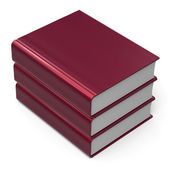 Book stack blank cover red 3 three archive content icon — Stock Photo