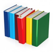 Books choice row colorful red selecting take choosing blank — Stock Photo