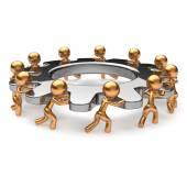 Teamwork business process hard job men gear characters — Stock Photo